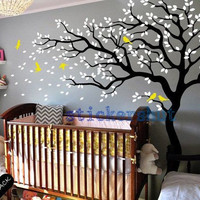 Baby nursery tree wall decal large tree birds wall decal for baby girl room wall decor