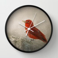 Song of the Summer Tanager 1 - Birds Wall Clock by Jai Johnson