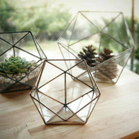 Small Geometric Glass Terrarium / Handmade Glass Planter / Stained Glass Terrarium / Modern Planter For Indoor Gardening /Glass Box /Planter