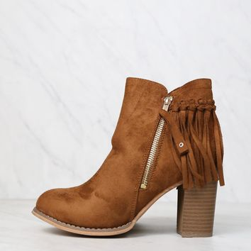 city chic fringe vegan suede ankle boot - camel