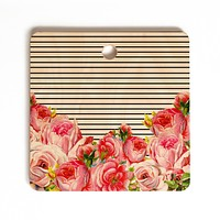 Allyson Johnson Bold Floral and stripes Cutting Board Square