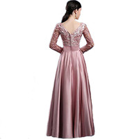 Hot V-neck Lace Full Sleeves Flower Hollow Pink Evening Dress Floor Length Prom Gown Bride Celebrity Dresses Formal Party LL1063