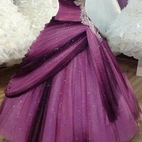 Puffy Purple Prom Dresses Sweetheart Neckline Ball Gowns Tulle vestido de debutante para 15 anos with Rhinestones and Crystals