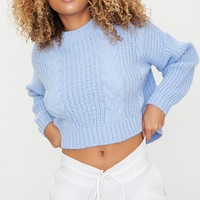 Dusty Blue Cable Crop Jumper