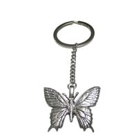 Silver Toned Textured Large Butterfly Pendant Keychain