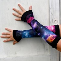 Black Hole Galaxy Arm Warmer Gloves Planet Stars Nebula gift