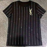 YSL Fashion Women Men Leisure Embroidery Stripe Diamond Round Collar T-Shirt Top Black