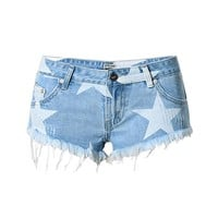 New Ripped Jeans Shorts for Women Summer Casual Star Printed Denim Shorts Vintage Hot Shorts Hole Denim Shorts Tassel Design