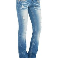 LOW-RISE RIPPED BOOTCUT JEAN
