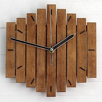 Mute Wooden Bars  Wall Clock For Decor
