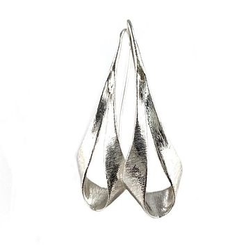 Twisted Brushed Sterling Silver Earrings