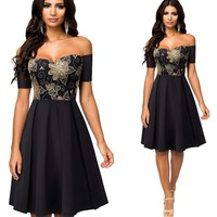 Vintage Embroidery Lace Patchwork A-Line Pinup Flare Dress
