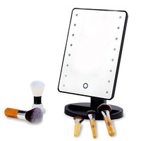 16 LED Makeup Mirror with Lights and Tray - Hollywood Backstage Portable Tabletop Vanity Mirror (Black)