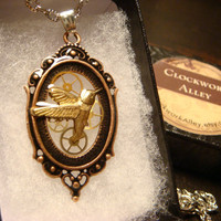 Steampunk Pendant Necklace with Flying Hummingbird  and Gears (1817)