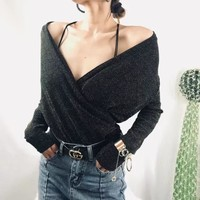 Blinking Fashion Crisscross V-Neck Long Sleeve Women Bottoming Shirt Tops