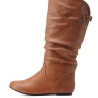Cognac Slouchy Flat Mid-Calf Boots by Charlotte Russe