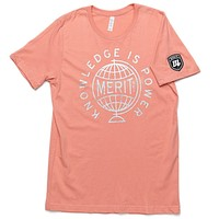 Knowledge is Power Tee - Peach/Silver