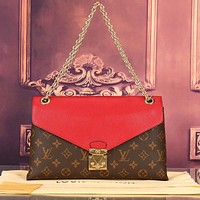 LV Louis Vuitton Women Shopping Leather Satchel Shoulder Bag Handbag Crossbody Red