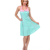 Mint Green & Pink Dotted Peggy Flamingo Flare Dress