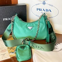 Prada Three pice bag Adjustable length shoulder strap bag crossbody bag green