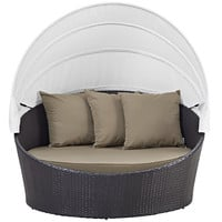 Unique Outdoor Water Resistant Patio Day Bed Daybed With Canopy and Pillows