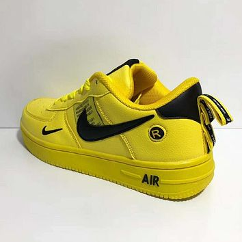Bunchsun NIKE Air Force 1 Fashionable Women Men Casual Sports Running Shoes Sneakers Yellow