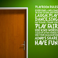 Playroom Rules for Nursery and Playroom Handmade Vinyl Wall Decal Art Mural for Children W0102