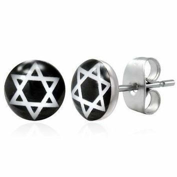 Star of David Enamel Button Stud Earrings For Man Or Woman