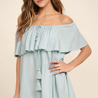 Melodic Light Blue Off-the-Shoulder Shift Dress