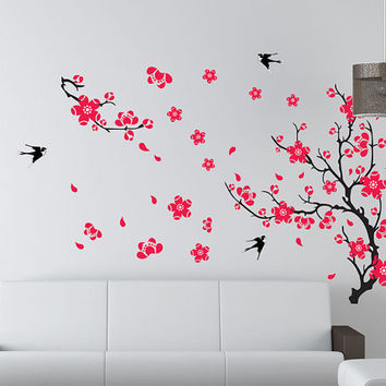 Tree wall decals Cherry blossom decals bird decals baby nursery kids room decor girl wall decor wall art Cherry Blossom Tree with birds