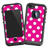 """White Polkadot on Hot Pink """"Protective Decal Skin"""" for LifeProof fre iPhone 5/5s Case"""