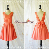 A Party V Charming Dress Coral Pink Backless Dress Prom Party Dress Wedding Bridesmaid Dresses Coral Sundress Coral Cocktail Dresses XS-XL
