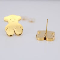 2016 Fashion simple design bear stainless steel stud earring for women girl gold plated earrings aretes de mujer allergy free