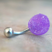 Light Purple Druzy Belly Button Jewelry Ring