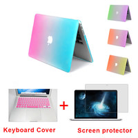 Fashion Matte Rainbow Hard Protector Case For MacBook Air 11 Pro 13 15 inch with Retina + Pink Keyboard Cover Free Shipping