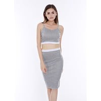 fhotwinter19 Hot sale gray and white stitching two-piece sexy sling dress