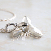 Swarovski Crystal Orchid Flower Sterling Silver Pendant Necklace Silver Grey Bella NS4 Mothers Day
