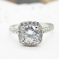 Sterling Silver Plated Crystal Filled Ring Women Jewelry Engagement Wedding