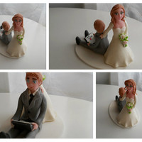 Funny Wedding Couple fondant cake topper with laptop FREE SHIPPING