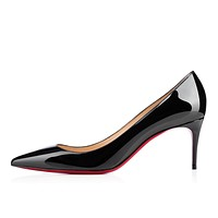 Christian Louboutin Cl Decollete 554 Black Patent Leather 70mm Stiletto Heel Classic -