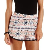 Multi Tribal Print High-Waisted Shorts by Charlotte Russe
