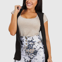 Black Sleeveless Open Vest Blazer