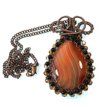 AgateNecklace, Copper Wire Wrapped Necklace, Statement Necklace, Natural Stone Pendant, Swarovski Crystal Pendant, Orange Agate Necklace