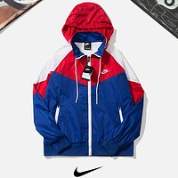 NIKE New fashion bust embroidery letter and back hook print contrast color hooded long sleeve windbreaker
