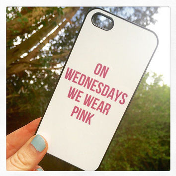 """Black """"On Wednesdays We Wear Pink"""" iPhone 5 5s Mean Girls Hipster Phone Case"""