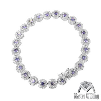 Sterling Silver Purple Lab Diamond White Gold Finish Female Bracelet