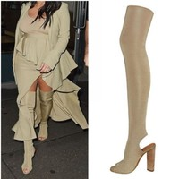 2017 new over the knee boots peep toe spring summer high heels boots thigh high boots