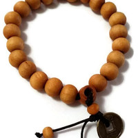 Buddha natural wood beads adjustable Bracelet  with coin Feng Shui