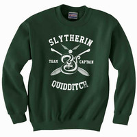Custom name and number on back Slytherin Quidditch team Captain WHITE print on Forest green Crew neck Sweatshirt
