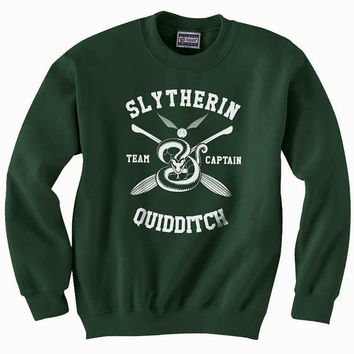 Slytherin Quidditch team Captain WHITE print on Forest green color Crew neck Sweatshirt